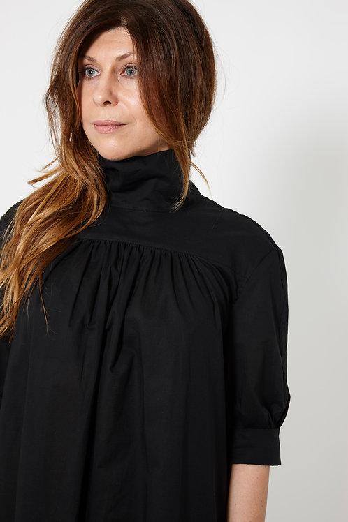 BEVERLY DRESS : ORGANIC COTTON VOILE : BLACK
