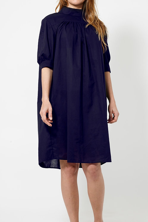 BEVERLY DRESS : ORGANIC COTTON VOILE : NAVY
