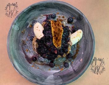 """Honey"" Comb Blueberry pancakes"