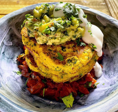 Corn pancakes with shakshuk & avo smash