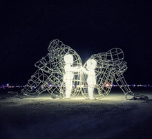 Powerful Sculpture Shows Inner Children Trapped Inside Adult Bodies
