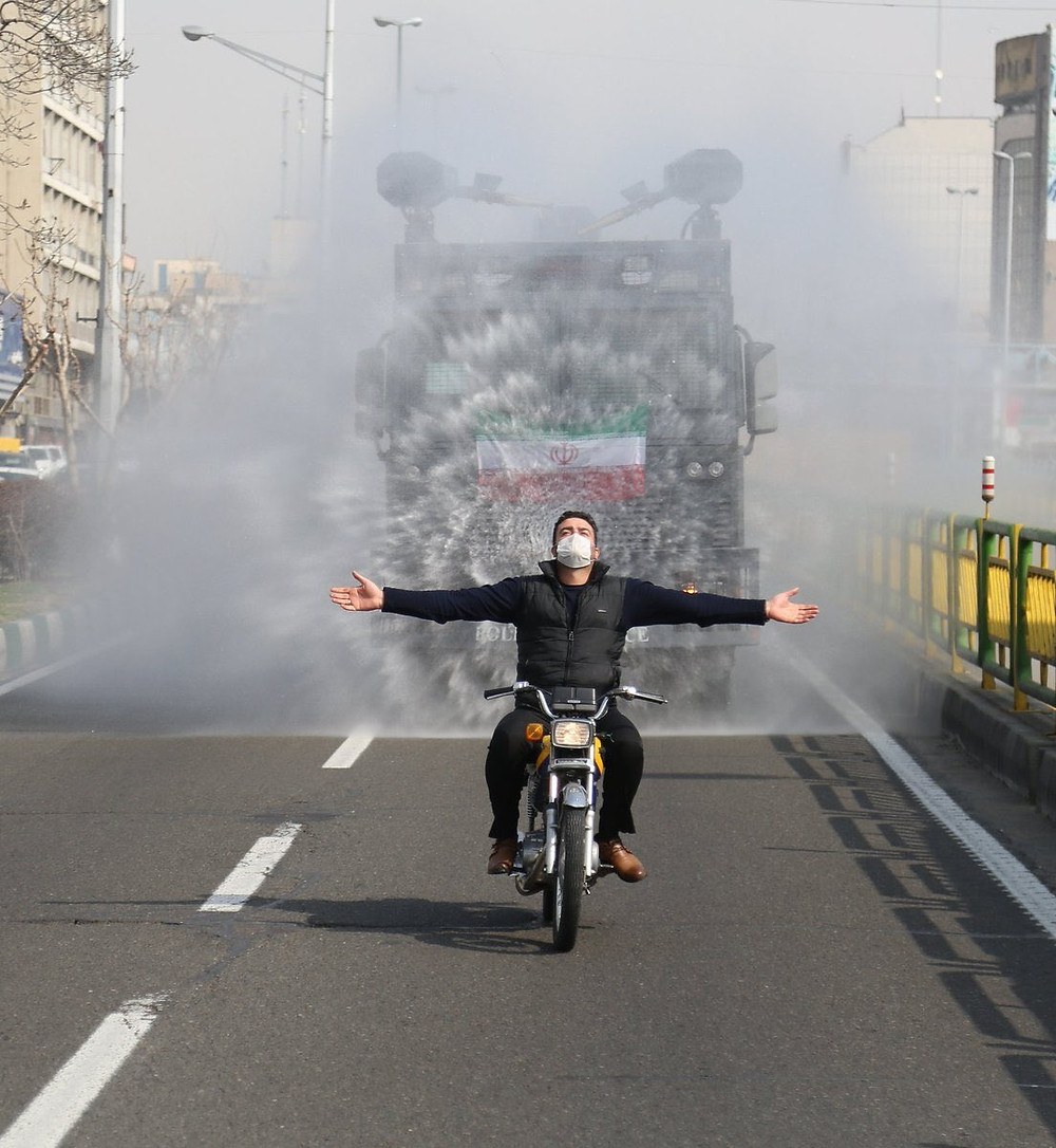 Iran is using police water cannons loaded with chemical spray to disinfect streets in Tehran as a protective measure against coronavirus