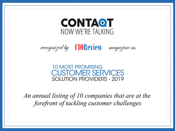 Contaqt Recognized as One of the 10 Most Promising Customer Services Solution Providers
