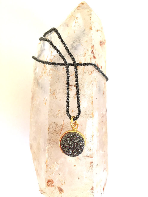 Mini Disc Gunmetal Agate Necklace