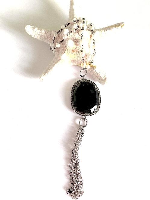 Jet Black Onyx Diamond Necklace
