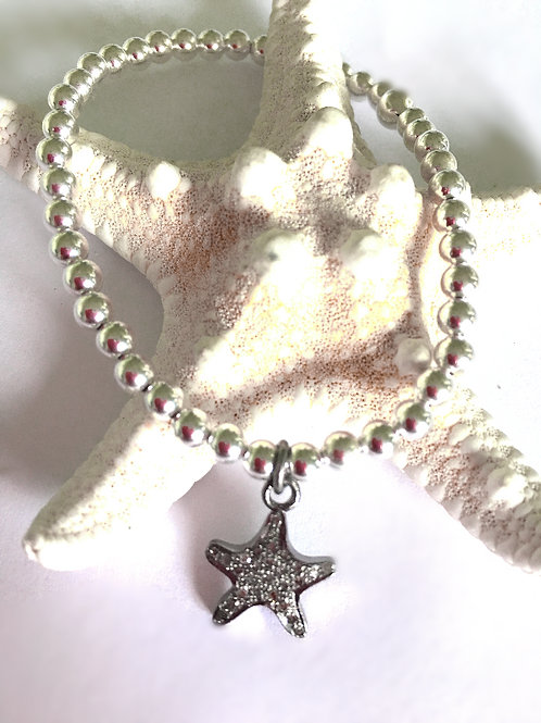 Sterling Silver Sea Star Diamond Bracelet