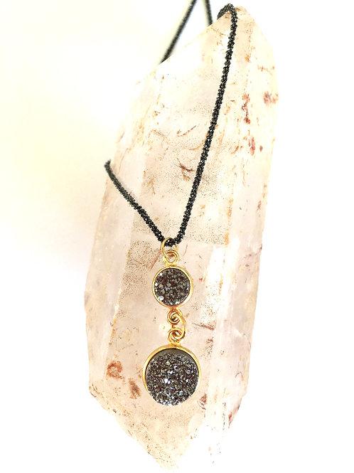 Double Disc Gunmetal Agate Necklace