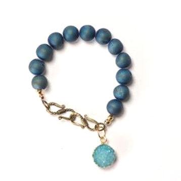 Heavenly Blue Cosmos Druzy Bracelet