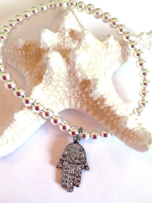 Sterling Silver Hamsa Diamond Bracelet