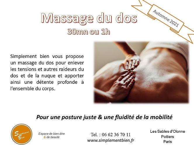 massage du dos musculaire, décontraction, relaxant, energie, Paris, Poitiers, Les Sables d'Olonne