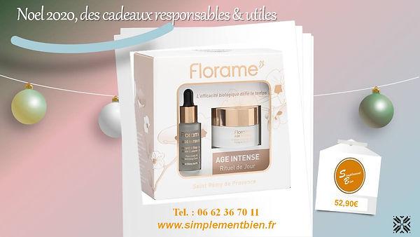 Noël 2020 Coffret âge intense Coffret FLORAME bio Age intense crème intégrale jour concentré repulpant à l'acide hyaluronique Simplement bien Noël 2020 cosmétique bio anti-âge