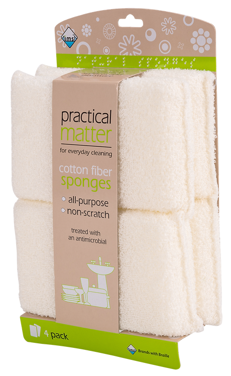 Cotton Fiber Sponges 4pk