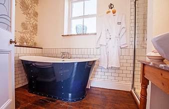 Stunning double ended bateau bath in the Master En Suite at Myrtle House Penzance
