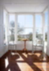 Lush sea views and over Morrab Gardens from the Blue Room at Myrtle House Penzance