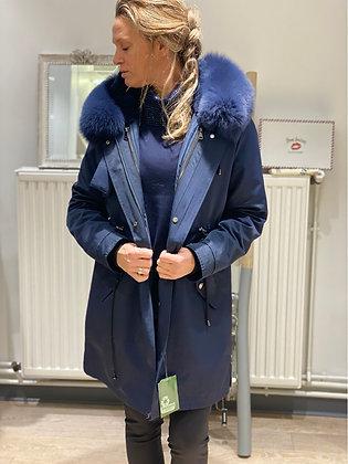 Doudoune bleu jean fourrée