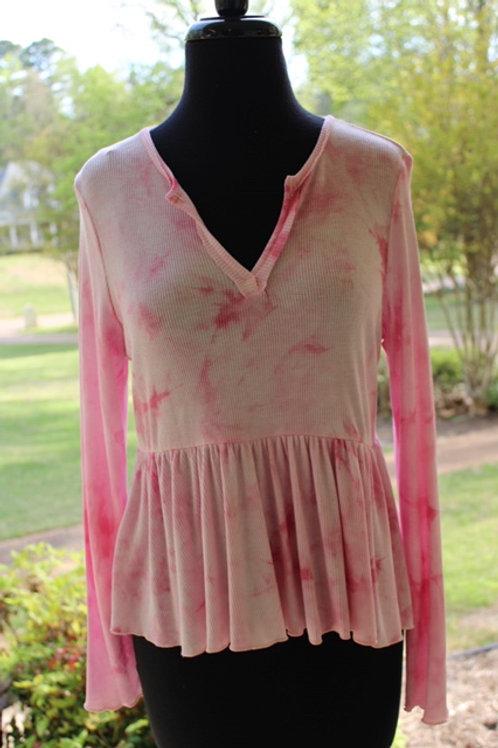 Pink Tie-Dye Long Sleeve Top