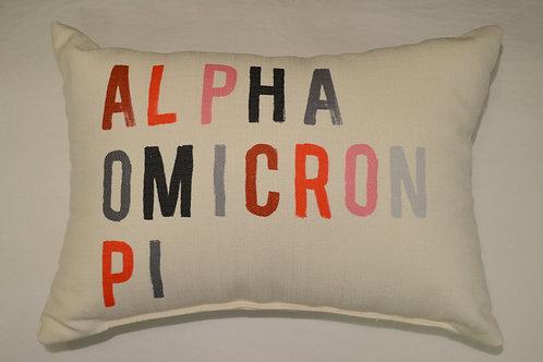 Alpha Omicron Pi Tonal Pillow