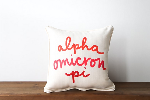 Alpha Omicron Pi Handwritten Pillow