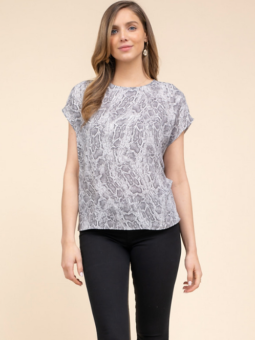 Grey Snakeskin Blouse