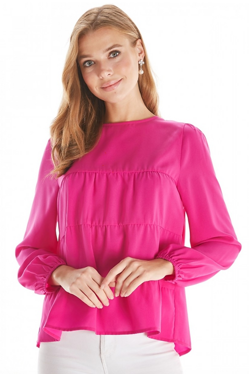 Magenta Tiered Long-Sleeved Blouse