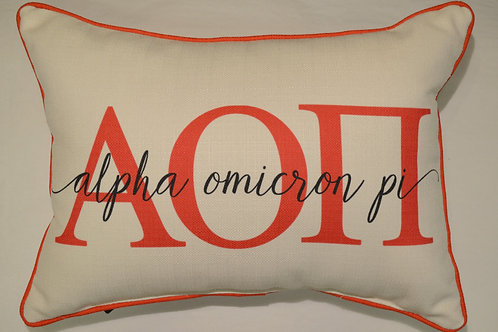 Alpha Omicron Pi Overlap Pillow