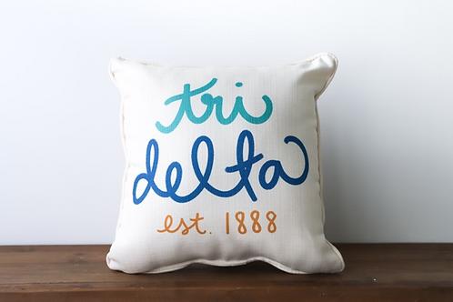 Delta Delta Delta Handwritten Pillow