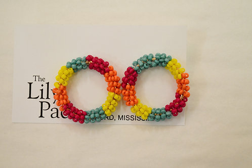 Circle Beaded Multicolor Earrings