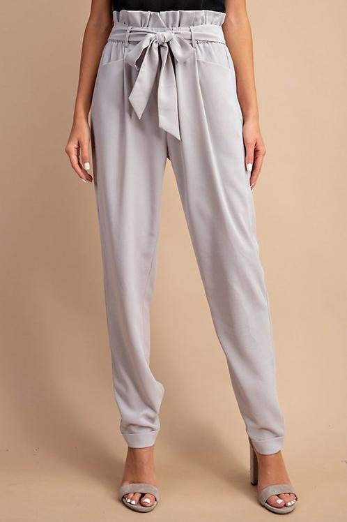 Cool Grey Tie-Waist Pants