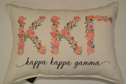 Kappa Kappa Gamma Floral Pillow