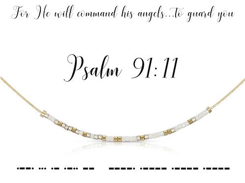 Psalm 91:11 Morse Code Necklace
