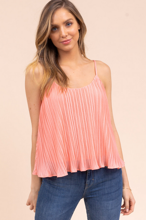 Coral Pleated Tank
