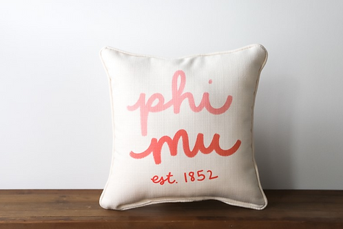 Phi Mu Handwritten Pillow