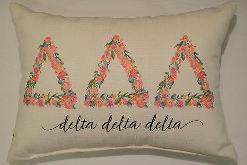 Delta Delta Delta Floral Pillow