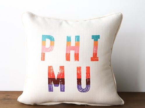 Phi Mu Stripe Pillow