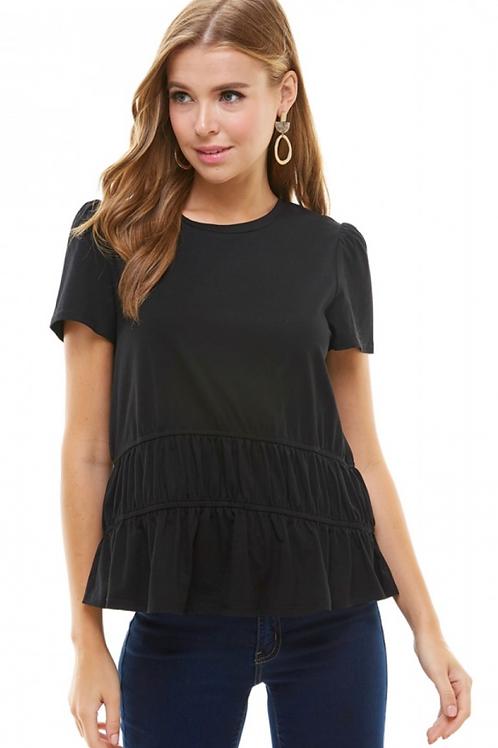 Black Ruffled Short-Sleeve Top