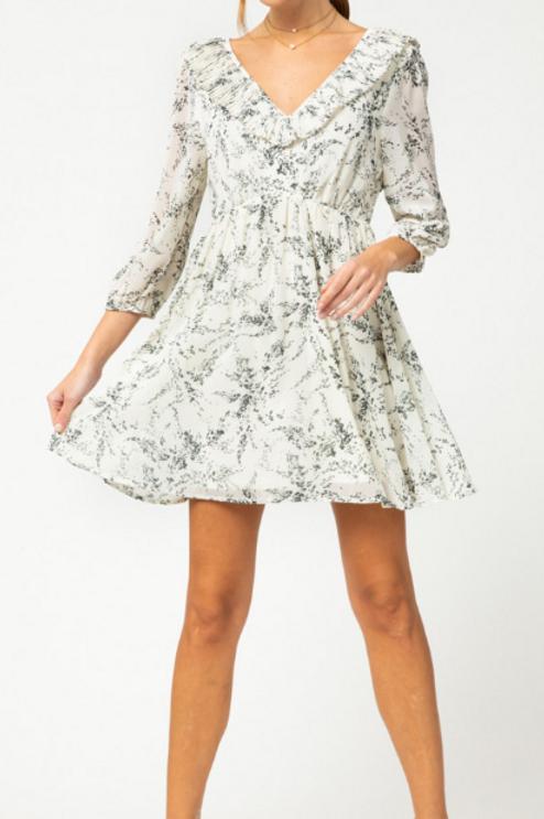 White Floral V-Neck Dress
