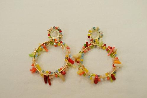 Circle Multicolored Hoops Earrings