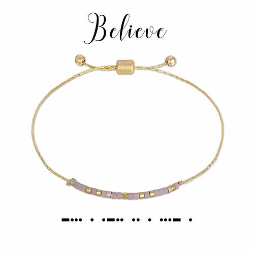 Believe Morse Code Bracelet
