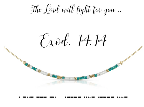 Exod. 14:14 Morse Code Necklace