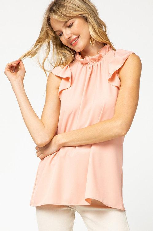 Ruffle Sleeve Blouse in Peach