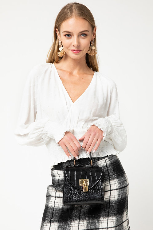 Long-Sleeve Dotted Cropped Blouse