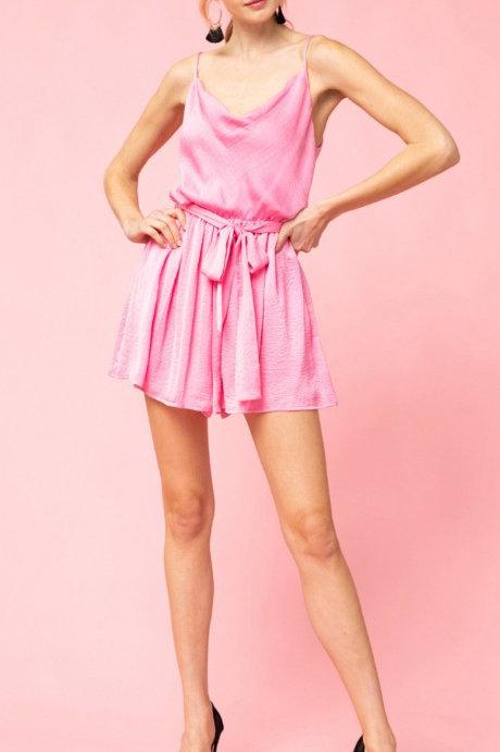 Pink Satin Romper