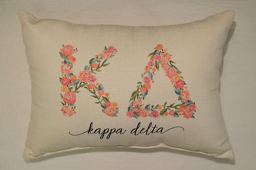 Kappa Delta Floral Pillow