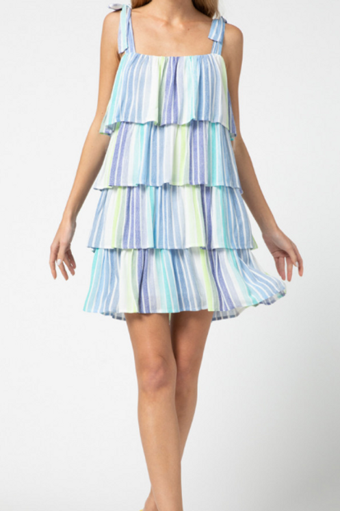 Multicolored Striped Tiered Dress