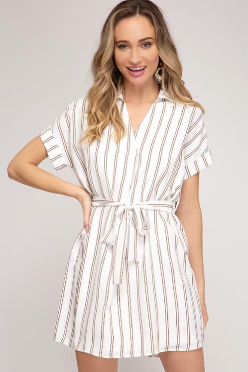 White Striped Tie Dress