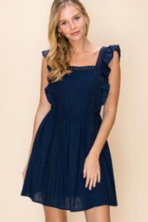 Navy Lace Trim Dress