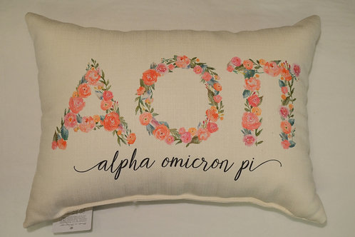Alpha Omicron Pi Floral Pillow