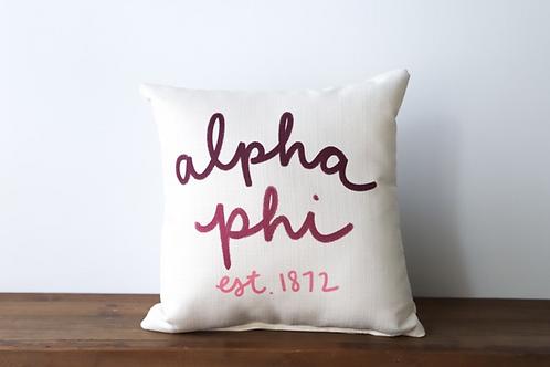 Alpha Phi Handwritten Pillow