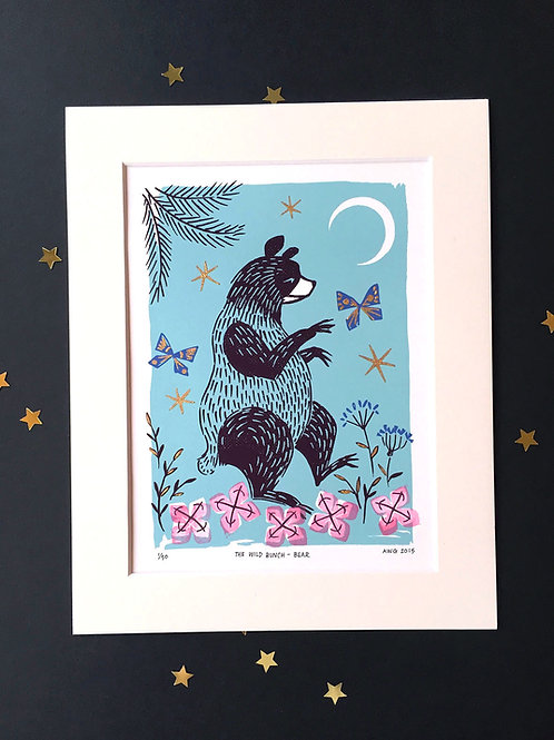 Wild Bunch Bear • Ltd Ed. embellished art print