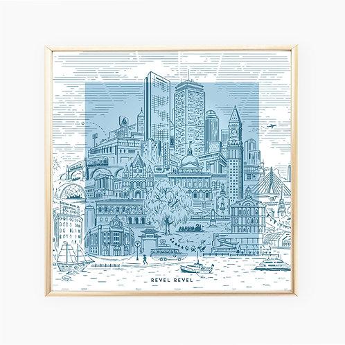 Boston Landmarks Color Block • art print